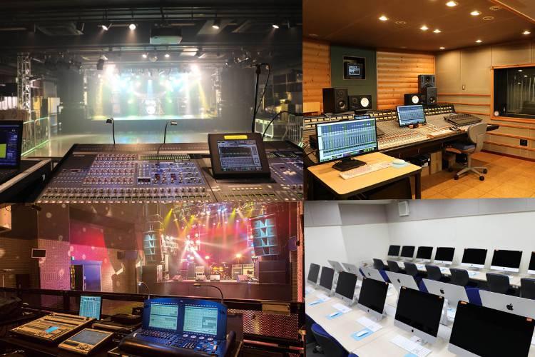 スタジオ、ホール、講義教室など様々な施設で学習します。